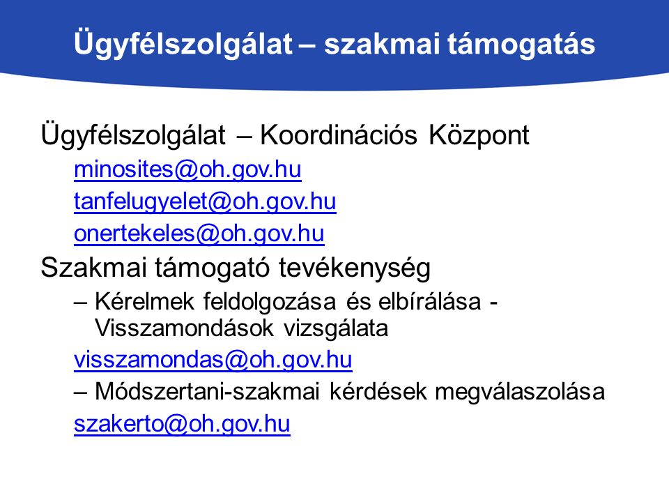 Ügyfélszolgálat – szakmai támogatás Ügyfélszolgálat – Koordinációs Központ minosites@oh.gov.hu tanfelugyelet@oh.gov.hu onertekeles@oh.gov.hu Szakmai támogató tevékenység –Kérelmek feldolgozása és elbírálása - Visszamondások vizsgálata visszamondas@oh.gov.hu –Módszertani-szakmai kérdések megválaszolása szakerto@oh.gov.hu