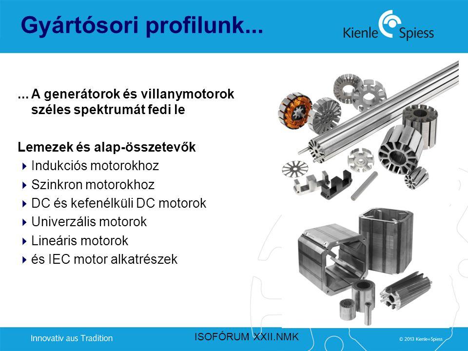 Gyártósori profilunk...... A generátorok és villanymotorok széles spektrumát fedi le Lemezek és alap-összetevők  Indukciós motorokhoz  Szinkron moto