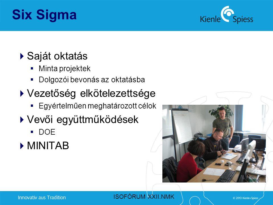 Six Sigma  Saját oktatás  Minta projektek  Dolgozói bevonás az oktatásba  Vezetőség elkötelezettsége  Egyértelműen meghatározott célok  Vevői eg