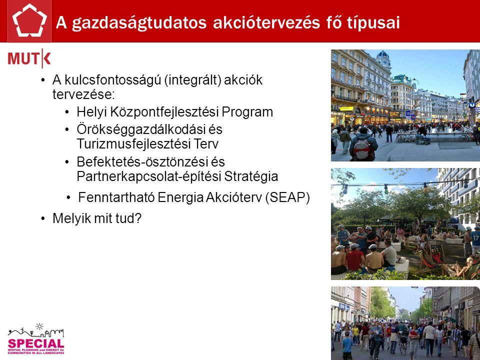 A kulcsfontosságú (integrált) akciók tervezése: Helyi Központfejlesztési Program Örökséggazdálkodási és Turizmusfejlesztési Terv Befektetés-ösztönzési