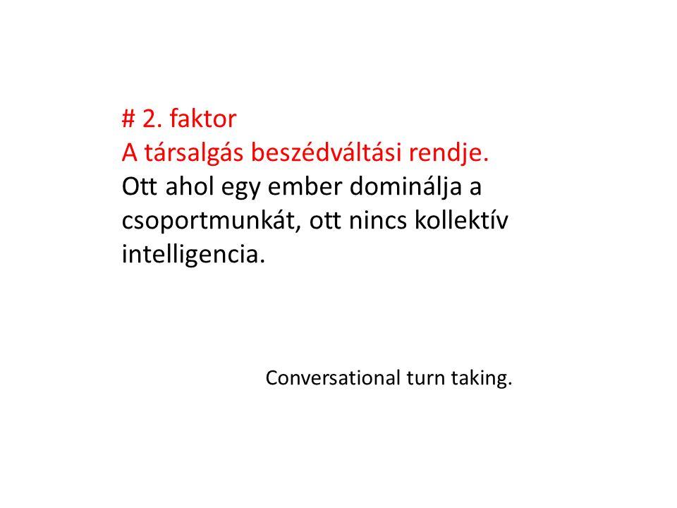 # 2. faktor A társalgás beszédváltási rendje. Ott ahol egy ember dominálja a csoportmunkát, ott nincs kollektív intelligencia. Conversational turn tak
