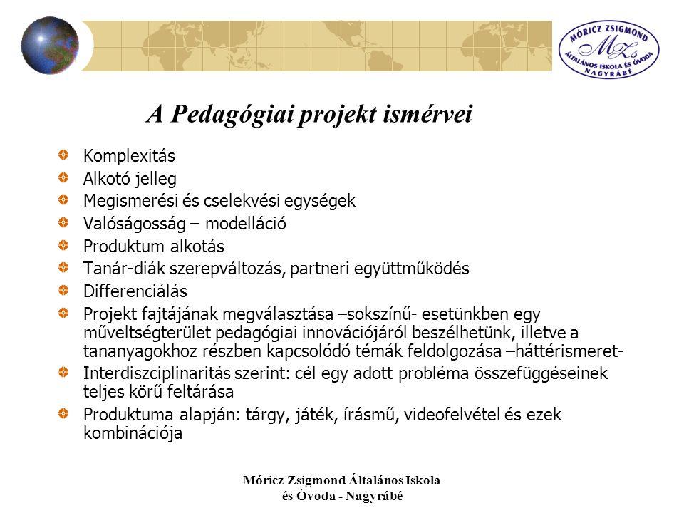 Móricz Zsigmond Általános Iskola és Óvoda - Nagyrábé A Pedagógiai projekt ismérvei Komplexitás Alkotó jelleg Megismerési és cselekvési egységek Valósá