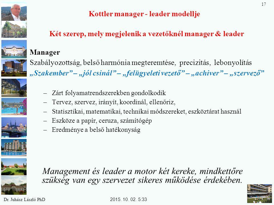 """Kottler manager - leader modellje Két szerep, mely megjelenik a vezetőknél manager & leader Manager Szabályozottság, belső harmónia megteremtése, precizitás, lebonyolítás """"Szakember – """"jól csinál – """"felügyeleti vezető – """"achiver – """"szervező –Zárt folyamatrendszerekben gondolkodik –Tervez, szervez, irányít, koordinál, ellenőriz, –Statisztikai, matematikai, technikai módszereket, eszköztárat használ –Eszköze a papír, ceruza, számítógép –Eredménye a belső hatékonyság Management és leader a motor két kereke, mindkettőre szükség van egy szervezet sikeres működése érdekében."""
