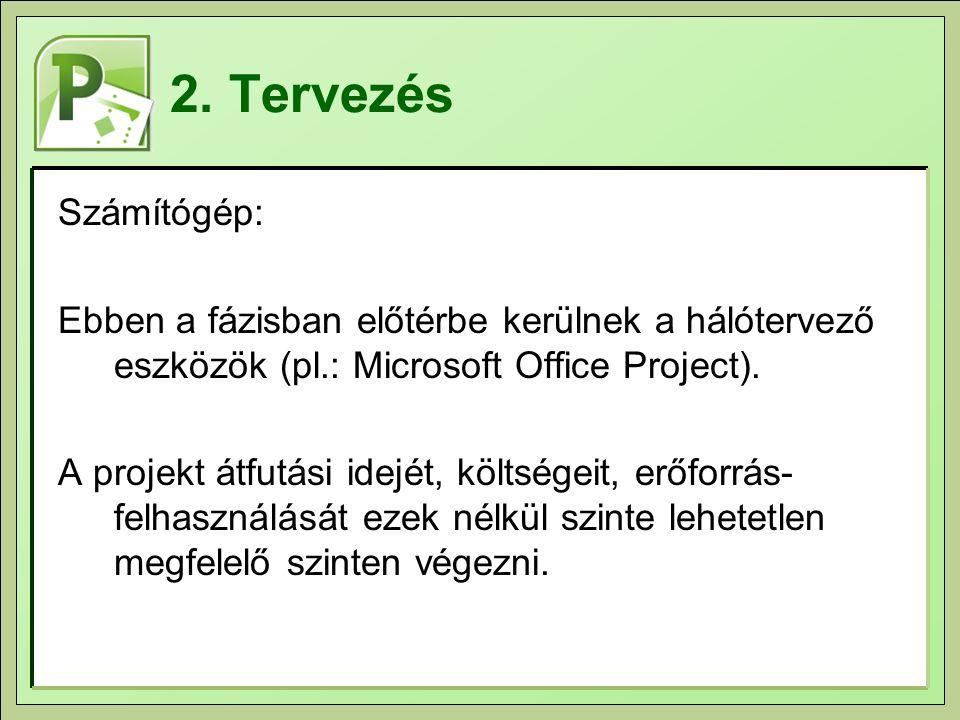 2. Tervezés Számítógép: Ebben a fázisban előtérbe kerülnek a hálótervező eszközök (pl.: Microsoft Office Project). A projekt átfutási idejét, költsége