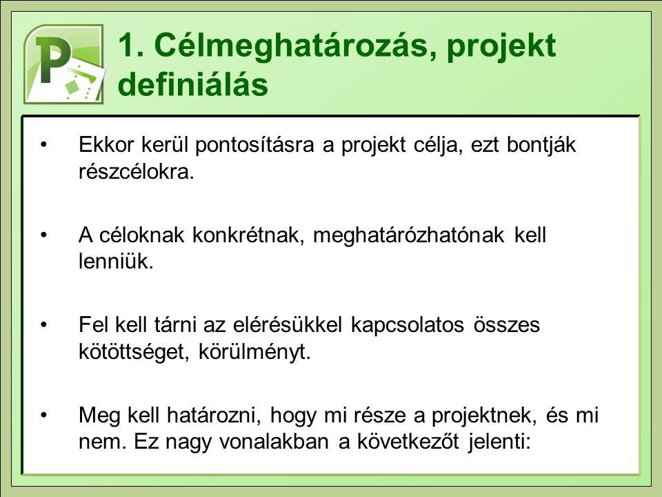 1. Célmeghatározás, projekt definiálás Ekkor kerül pontosításra a projekt célja, ezt bontják részcélokra. A céloknak konkrétnak, meghatárózhatónak kel