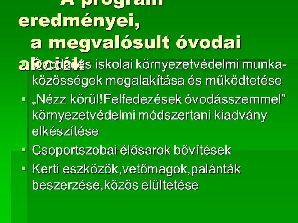 A program eredményei, a megvalósult óvodai akciók A program eredményei, a megvalósult óvodai akciók  Óvodai és iskolai környezetvédelmi munka- közöss