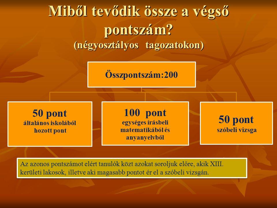 Miből tevődik össze a végső pontszám? (négyosztályos tagozatokon) Összpontszám:200 50 pont általános iskolából hozott pont 100 pont egységes írásbeli