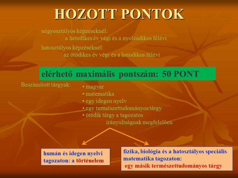 HOZOTT PONTOK elérhető maximális pontszám: 50 PONT négyosztályos képzéseknél: a hetedikes év végi és a nyolcadikos félévi hatosztályos képzéseknél: az