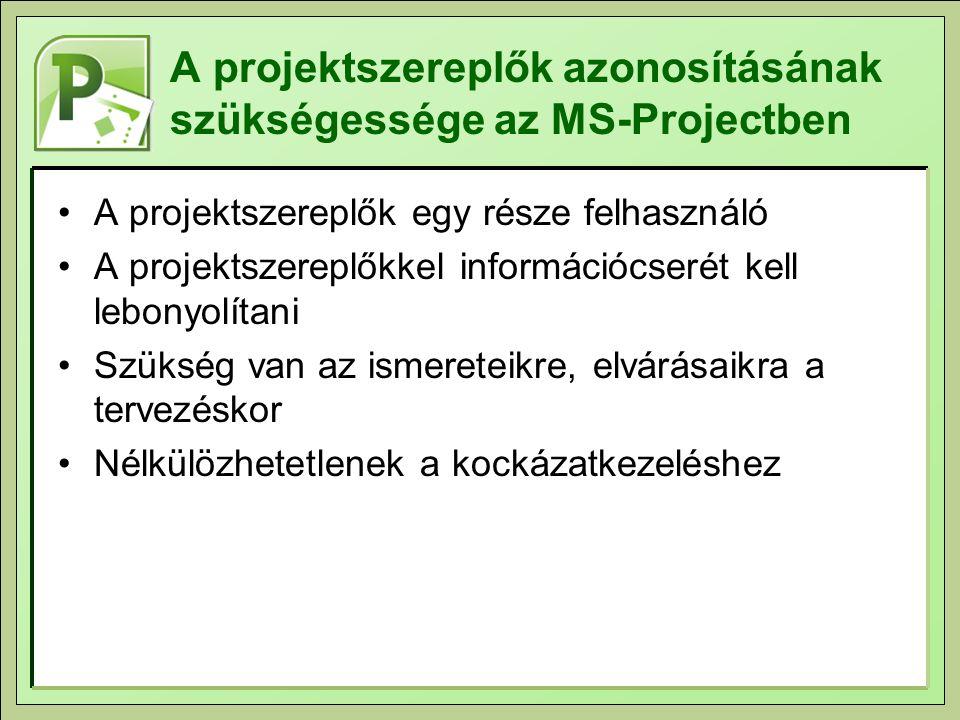 A projektszereplők azonosításának szükségessége az MS-Projectben A projektszereplők egy része felhasználó A projektszereplőkkel információcserét kell