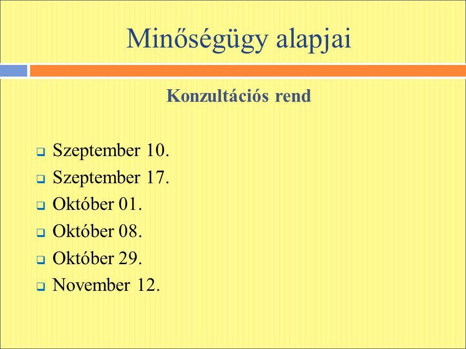 Minőségügy alapjai Konzultációs rend  Szeptember 10.  Szeptember 17.  Október 01.  Október 08.  Október 29.  November 12.