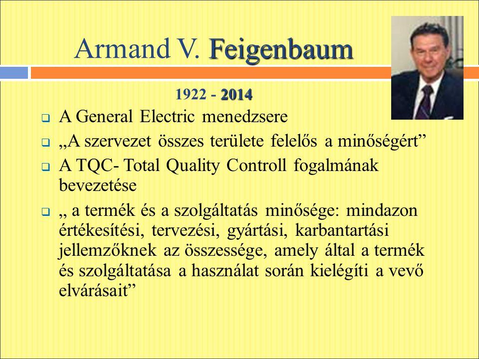 """Feigenbaum Armand V. Feigenbaum 2014 1922 - 2014  A General Electric menedzsere  """"A szervezet összes területe felelős a minőségért""""  A TQC- Total Q"""