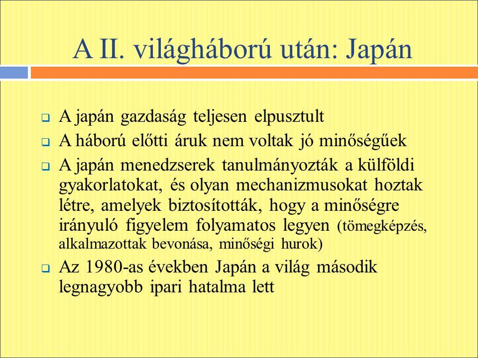 A II. világháború után: Japán  A japán gazdaság teljesen elpusztult  A háború előtti áruk nem voltak jó minőségűek  A japán menedzserek tanulmányoz