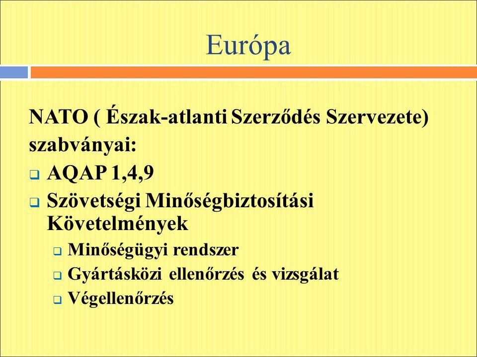 Európa NATO ( Észak-atlanti Szerződés Szervezete) szabványai:  AQAP 1,4,9  Szövetségi Minőségbiztosítási Követelmények  Minőségügyi rendszer  Gyártásközi ellenőrzés és vizsgálat  Végellenőrzés
