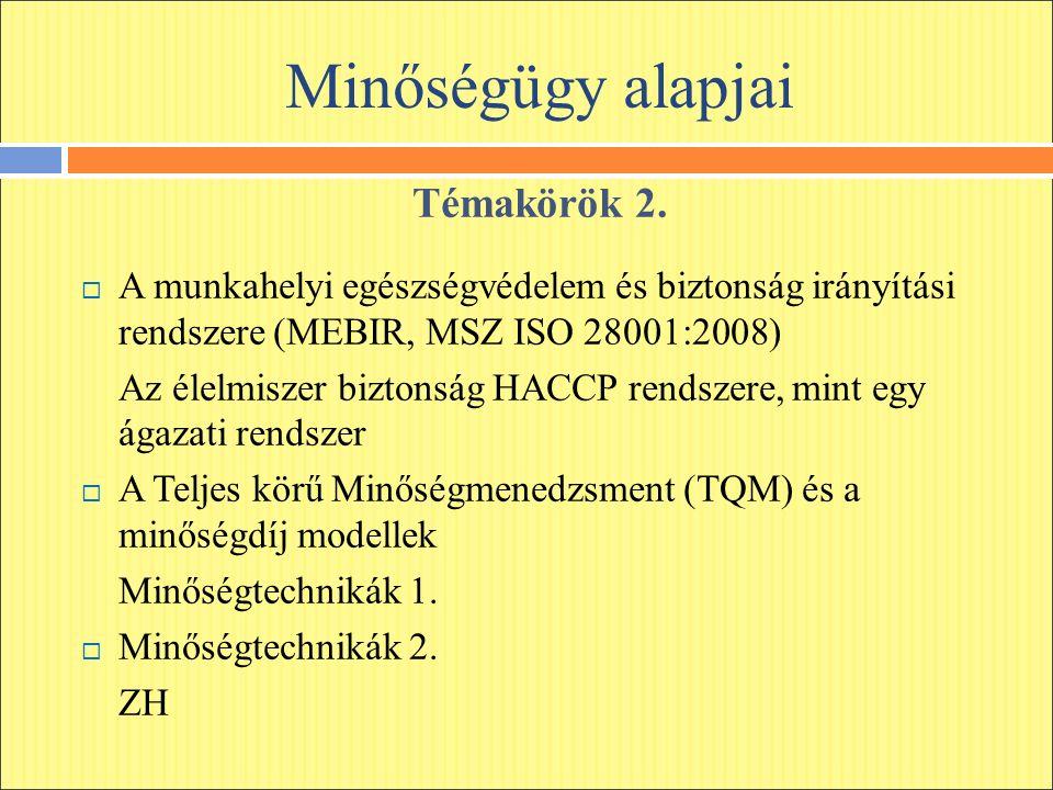 Minőségügy alapjai Témakörök 2.  A munkahelyi egészségvédelem és biztonság irányítási rendszere (MEBIR, MSZ ISO 28001:2008) Az élelmiszer biztonság H