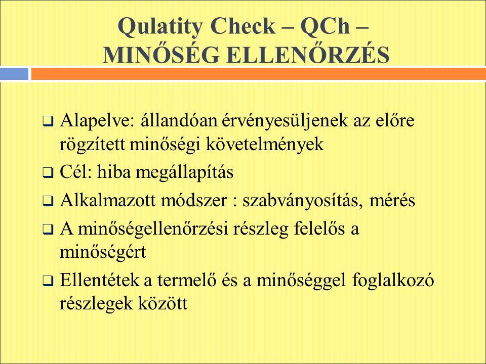 Qulatity Check – QCh – MINŐSÉG ELLENŐRZÉS  Alapelve: állandóan érvényesüljenek az előre rögzített minőségi követelmények  Cél: hiba megállapítás  Alkalmazott módszer : szabványosítás, mérés  A minőségellenőrzési részleg felelős a minőségért  Ellentétek a termelő és a minőséggel foglalkozó részlegek között