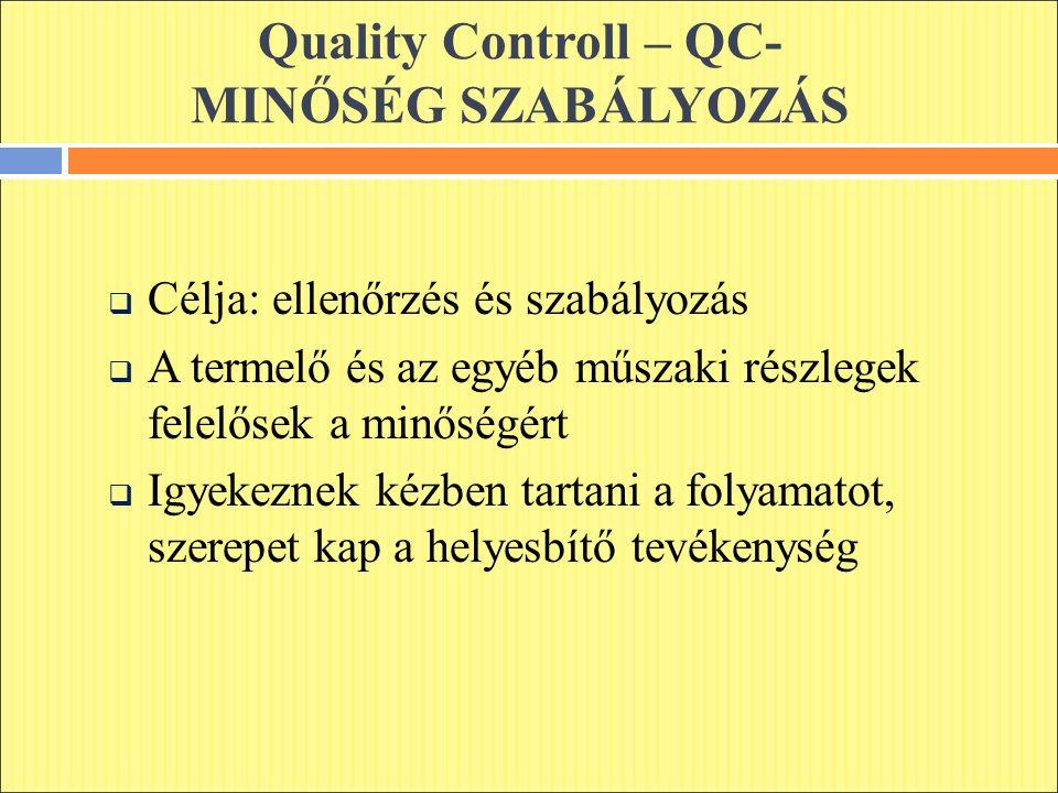 Quality Controll – QC- MINŐSÉG SZABÁLYOZÁS  Célja: ellenőrzés és szabályozás  A termelő és az egyéb műszaki részlegek felelősek a minőségért  Igyekeznek kézben tartani a folyamatot, szerepet kap a helyesbítő tevékenység