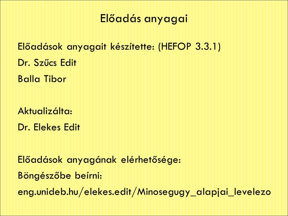Előadás anyagai Előadások anyagait készítette: (HEFOP 3.3.1) Dr. Szűcs Edit Balla Tibor Aktualizálta: Dr. Elekes Edit Előadások anyagának elérhetősége