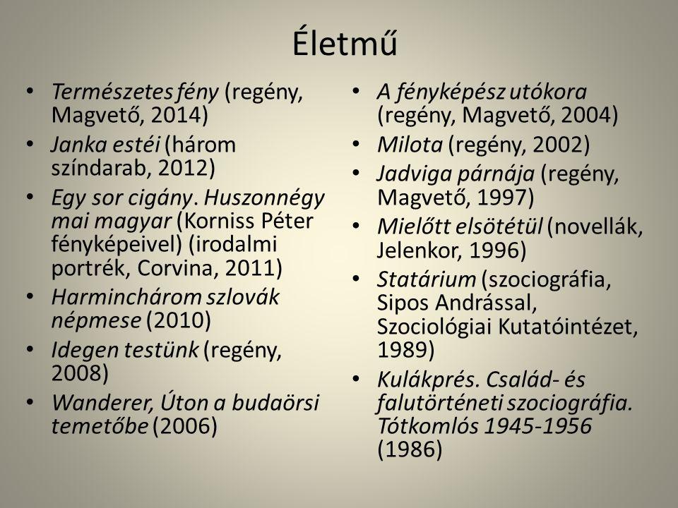 Életmű Természetes fény (regény, Magvető, 2014) Janka estéi (három színdarab, 2012) Egy sor cigány.
