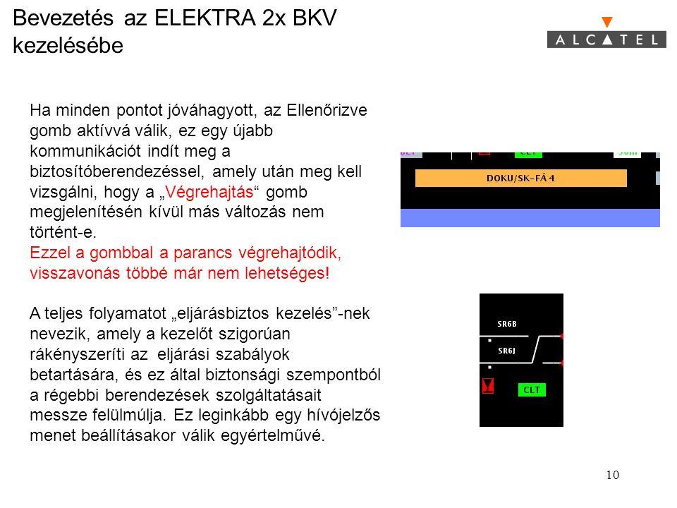 Bevezetés az ELEKTRA 2x BKV kezelésébe 10 Ha minden pontot jóváhagyott, az Ellenőrizve gomb aktívvá válik, ez egy újabb kommunikációt indít meg a bizt