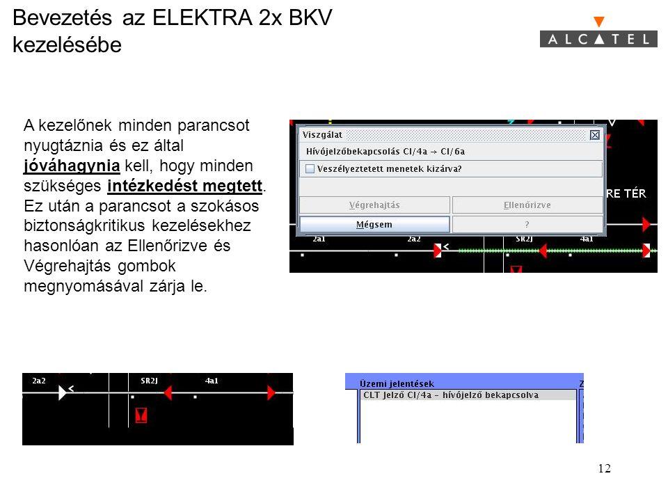 Bevezetés az ELEKTRA 2x BKV kezelésébe 12 A kezelőnek minden parancsot nyugtáznia és ez által jóváhagynia kell, hogy minden szükséges intézkedést megt