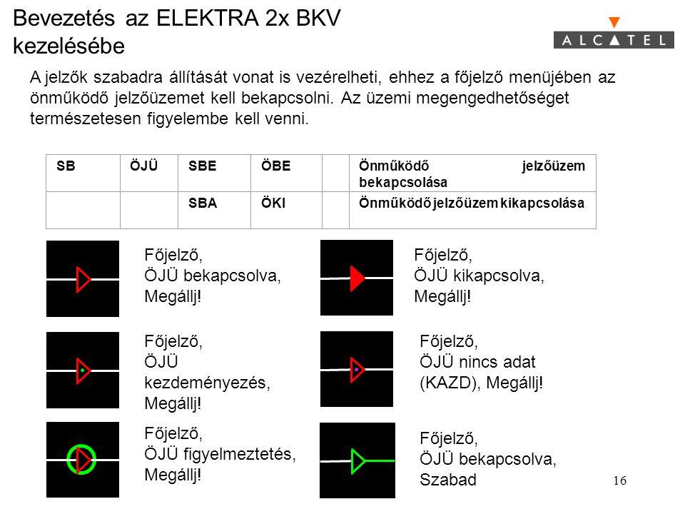 Bevezetés az ELEKTRA 2x BKV kezelésébe 16 A jelzők szabadra állítását vonat is vezérelheti, ehhez a főjelző menüjében az önműködő jelzőüzemet kell bek