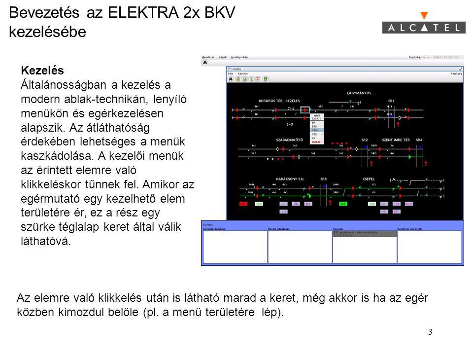 Bevezetés az ELEKTRA 2x BKV kezelésébe 3 Kezelés Általánosságban a kezelés a modern ablak-technikán, lenyíló menükön és egérkezelésen alapszik. Az átl