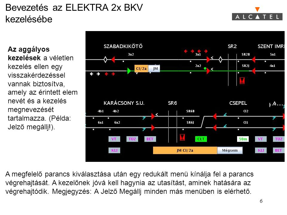 Bevezetés az ELEKTRA 2x BKV kezelésébe 17 www.alcatel.com/rail T R A I N C O N T R O L B Y A L C A T E L Az összes kijelzés és menü a rendszerleírásban megtalálható.