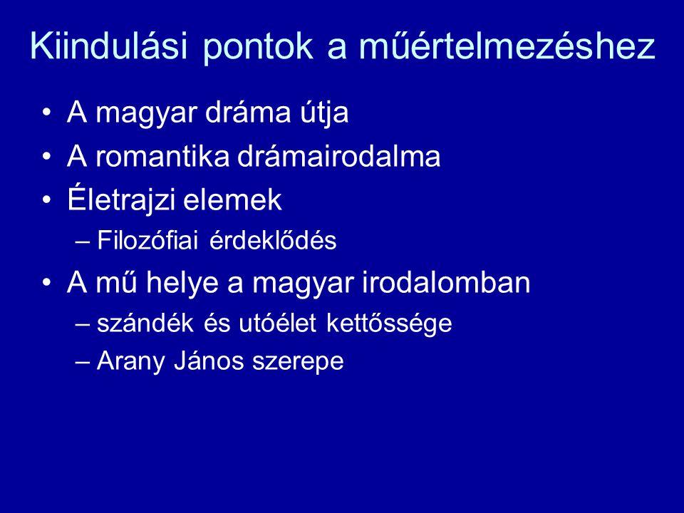 Kiindulási pontok a műértelmezéshez A magyar dráma útja A romantika drámairodalma Életrajzi elemek –Filozófiai érdeklődés A mű helye a magyar irodalom