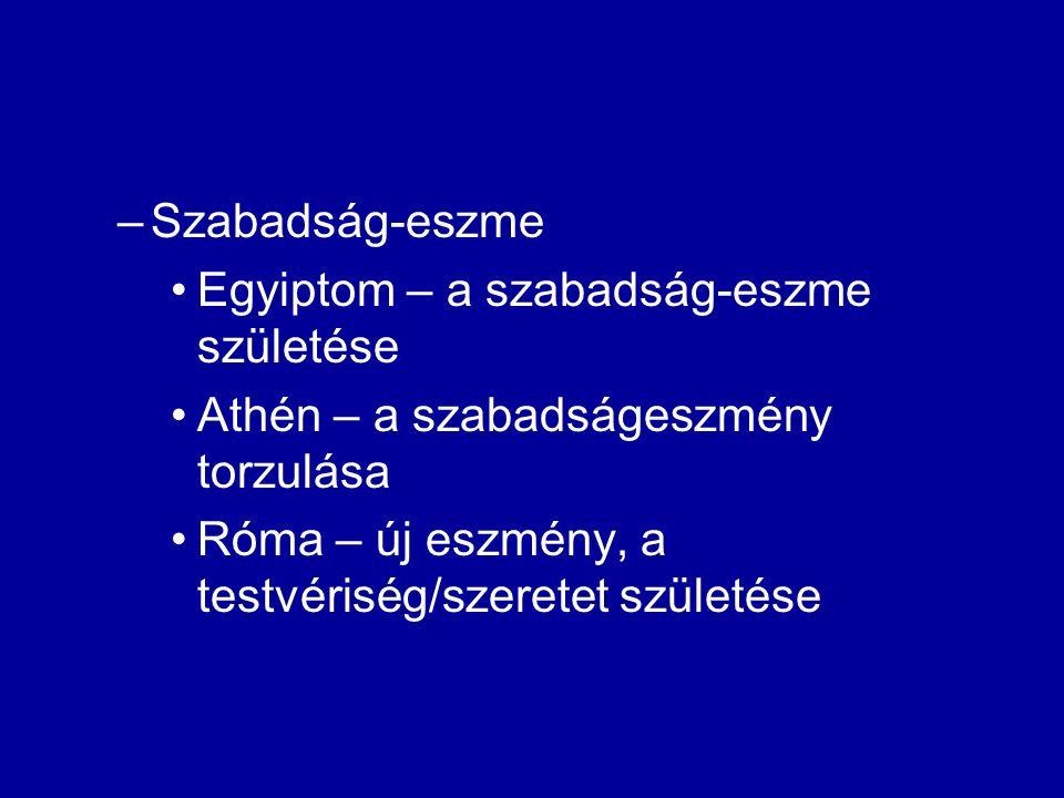 –Szabadság-eszme Egyiptom – a szabadság-eszme születése Athén – a szabadságeszmény torzulása Róma – új eszmény, a testvériség/szeretet születése