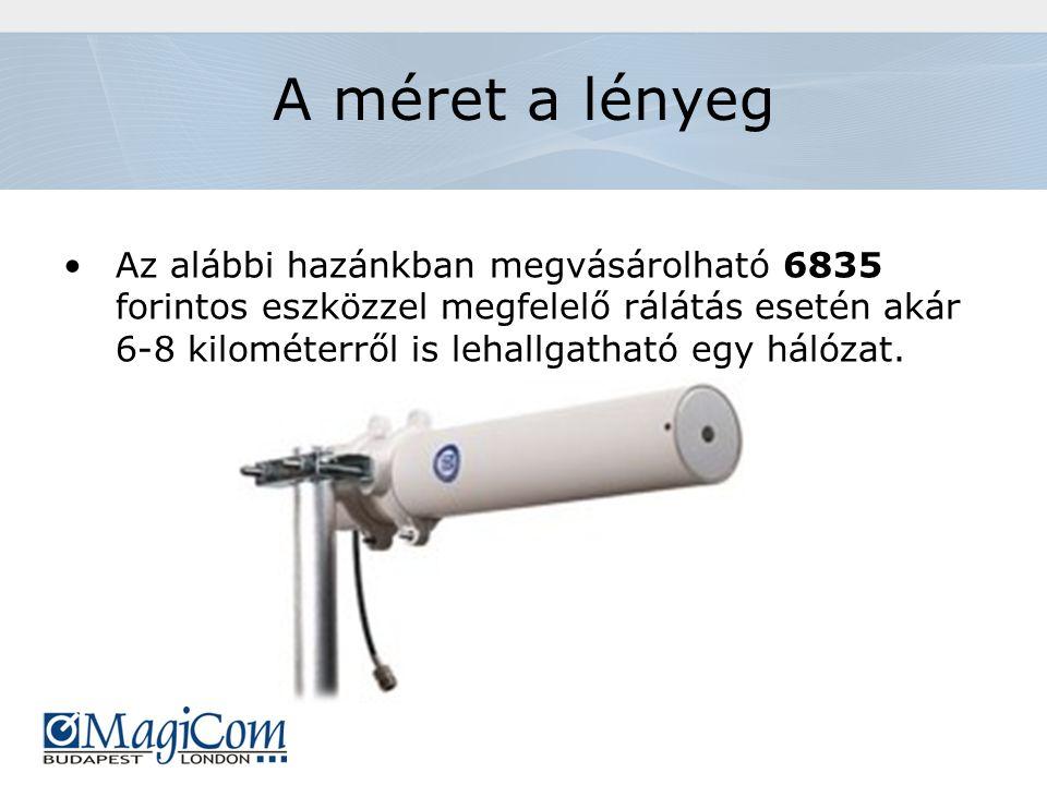 A méret a lényeg Az alábbi hazánkban megvásárolható 6835 forintos eszközzel megfelelő rálátás esetén akár 6-8 kilométerről is lehallgatható egy hálózat.