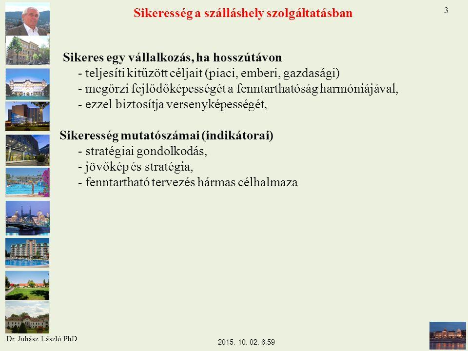 Sikeresség a szálláshely szolgáltatásban Sikeres egy vállalkozás, ha hosszútávon - teljesíti kitűzött céljait (piaci, emberi, gazdasági) - megőrzi fejlődőképességét a fenntarthatóság harmóniájával, - ezzel biztosítja versenyképességét, Sikeresség mutatószámai (indikátorai) - stratégiai gondolkodás, - jövőkép és stratégia, - fenntartható tervezés hármas célhalmaza 3 2015.