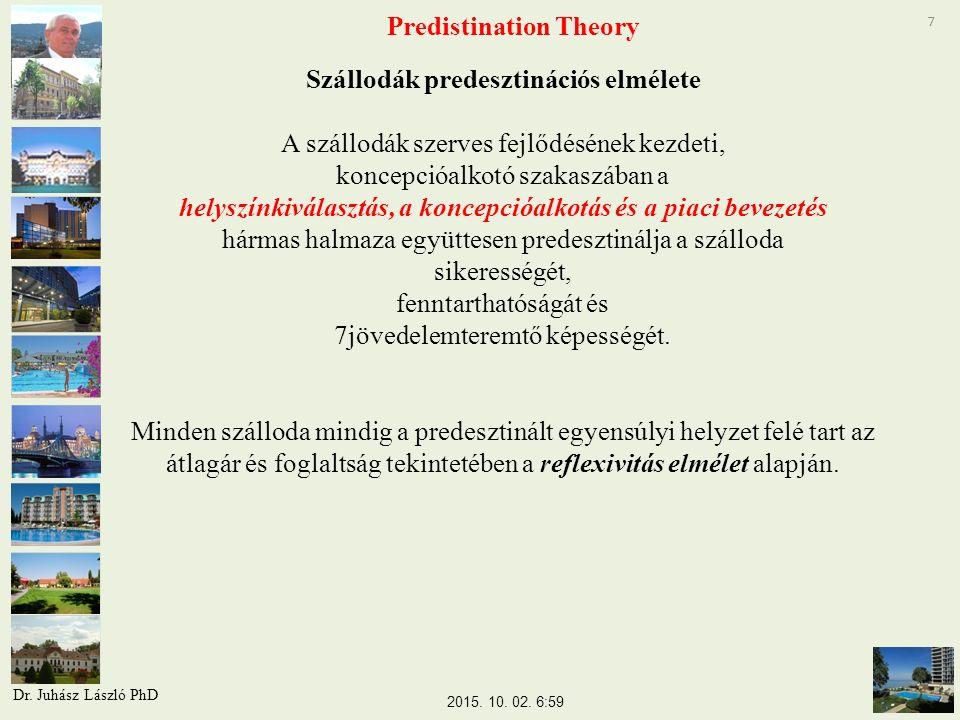 7 Predistination Theory Szállodák predesztinációs elmélete A szállodák szerves fejlődésének kezdeti, koncepcióalkotó szakaszában a helyszínkiválasztás, a koncepcióalkotás és a piaci bevezetés hármas halmaza együttesen predesztinálja a szálloda sikerességét, fenntarthatóságát és 7jövedelemteremtő képességét.