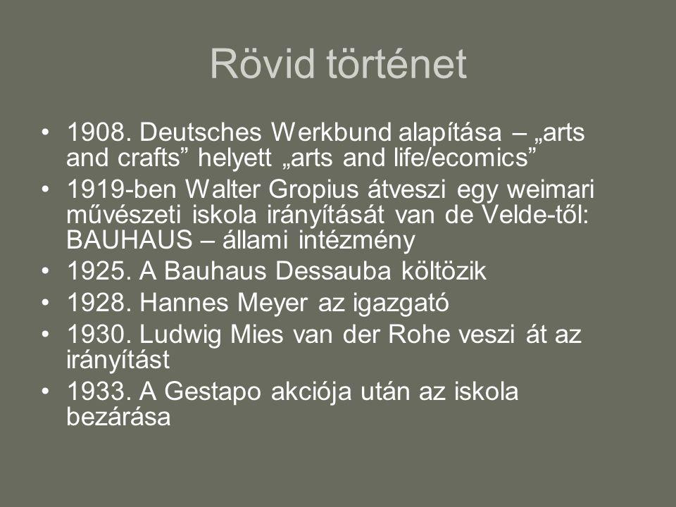 """Rövid történet 1908. Deutsches Werkbund alapítása – """"arts and crafts"""" helyett """"arts and life/ecomics"""" 1919-ben Walter Gropius átveszi egy weimari művé"""