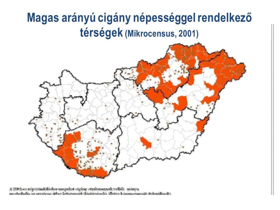 Magas arányú cigány népességgel rendelkező térségek (Mikrocensus, 2001)