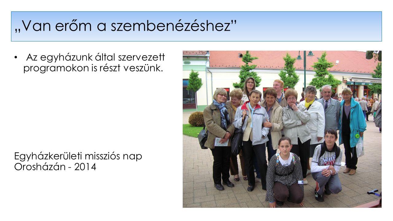 """Az egyházunk által szervezett programokon is részt veszünk. Egyházkerületi missziós nap Orosházán - 2014 """"Van erőm a szembenézéshez"""""""