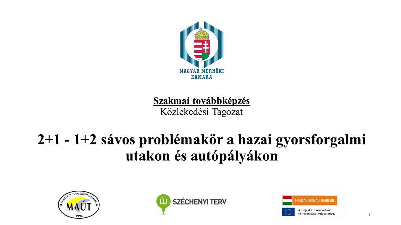 Szakmai továbbképzés Közlekedési Tagozat 2+1 - 1+2 sávos problémakör a hazai gyorsforgalmi utakon és autópályákon 1