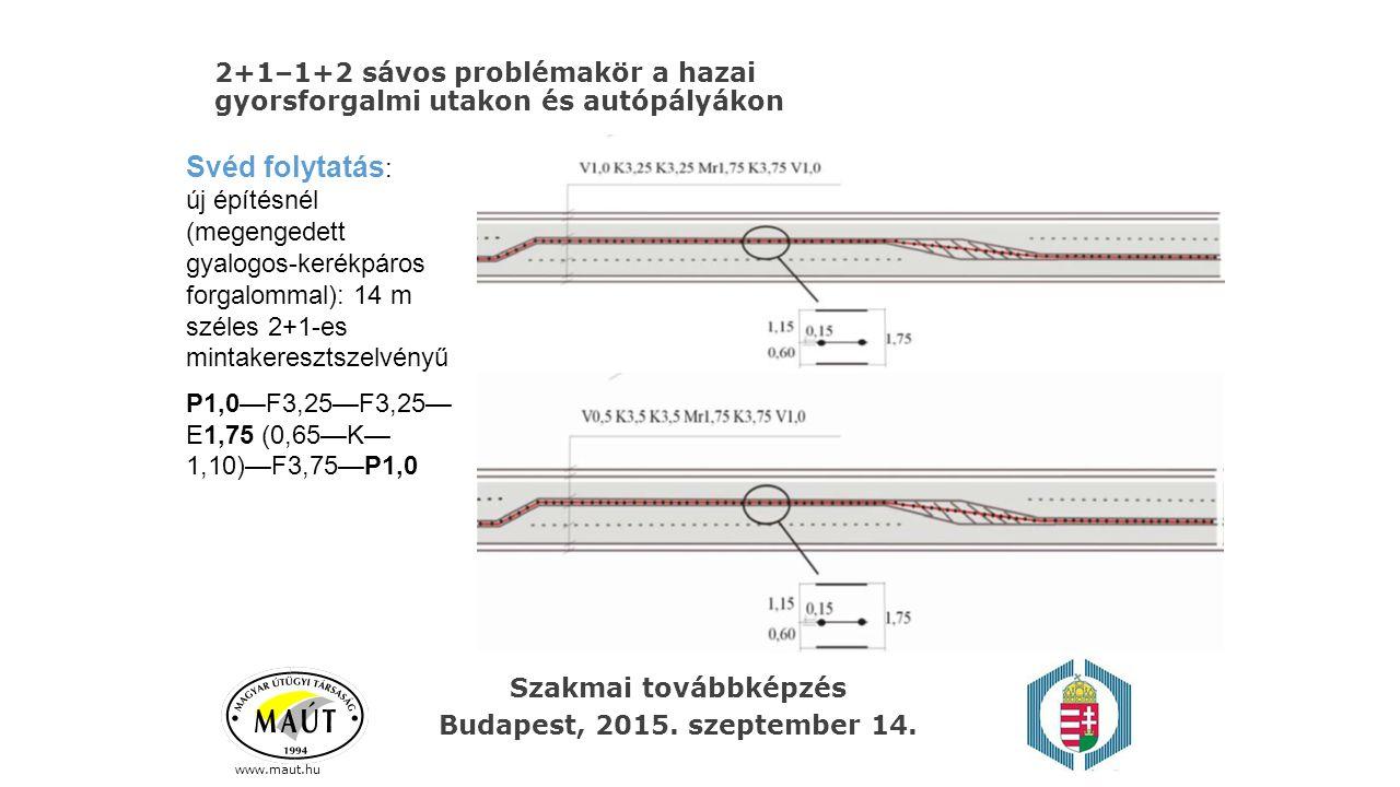 2+1–1+2 sávos problémakör a hazai gyorsforgalmi utakon és autópályákon www.maut.hu Svéd folytatás : új építésnél (megengedett gyalogos-kerékpáros forg