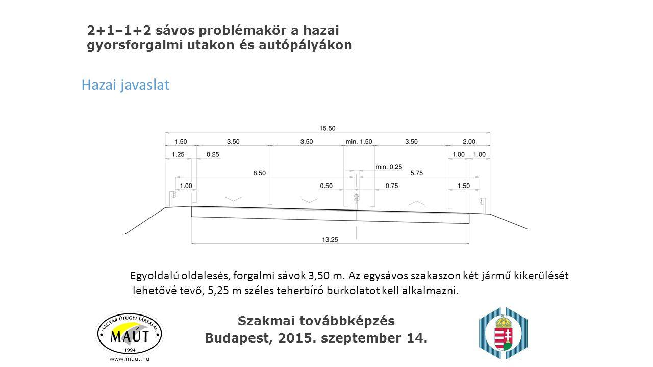 www.maut.hu 2+1–1+2 sávos problémakör a hazai gyorsforgalmi utakon és autópályákon Hazai javaslat Egyoldalú oldalesés, forgalmi sávok 3,50 m. Az egysá