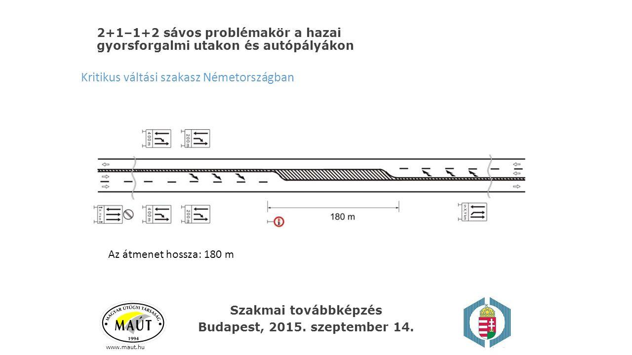 2+1–1+2 sávos problémakör a hazai gyorsforgalmi utakon és autópályákon www.maut.hu Kritikus váltási szakasz Németországban Az átmenet hossza: 180 m Sz
