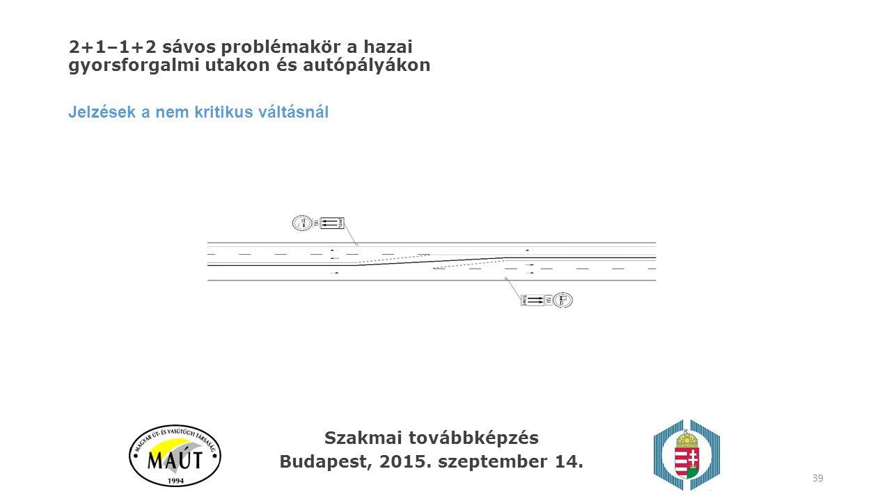 2+1–1+2 sávos problémakör a hazai gyorsforgalmi utakon és autópályákon Jelzések a nem kritikus váltásnál 39 Szakmai továbbképzés Budapest, 2015. szept