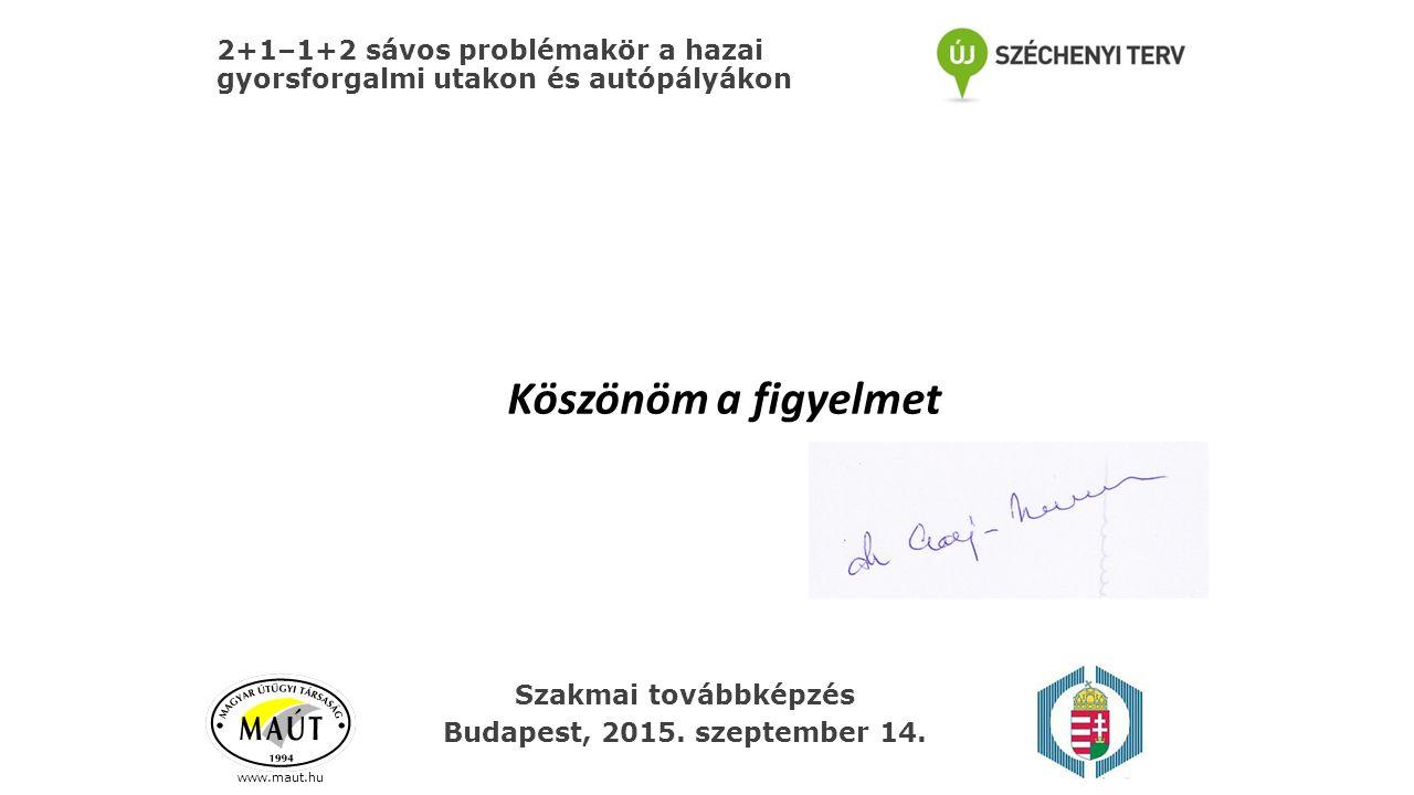 2+1–1+2 sávos problémakör a hazai gyorsforgalmi utakon és autópályákon www.maut.hu Köszönöm a figyelmet Szakmai továbbképzés Budapest, 2015. szeptembe