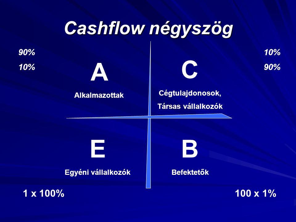 Cashflow négyszög A Alkalmazottak E Egyéni vállalkozók C Cégtulajdonosok, Társas vállalkozók B Befektetők 1 x 100%100 x 1% 90% 10% 90%
