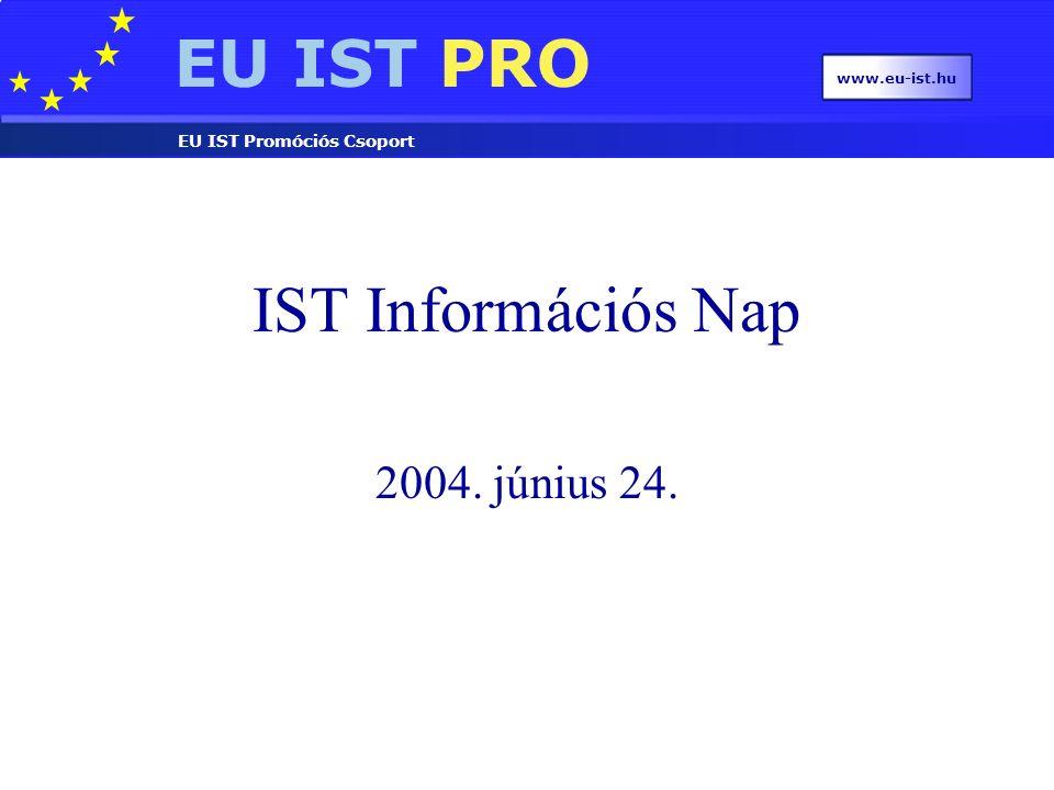 EU IST PRO EU IST Promóciós Csoport www.eu-ist.hu IST Információs Nap 2004. június 24.