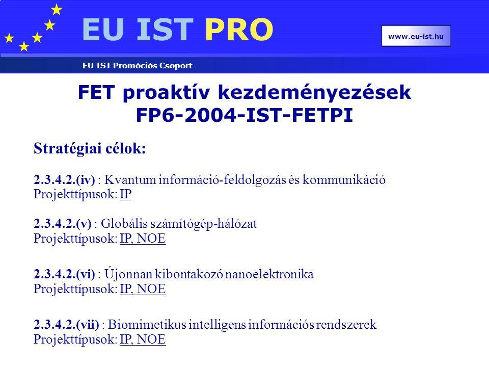 EU IST PRO EU IST Promóciós Csoport www.eu-ist.hu FET proaktív kezdeményezések FP6-2004-IST-FETPI Stratégiai célok: 2.3.4.2.(iv) : Kvantum információ-feldolgozás és kommunikáció Projekttípusok: IP 2.3.4.2.(v) : Globális számítógép-hálózat Projekttípusok: IP, NOEIPIP, NOE 2.3.4.2.(vi) : Újonnan kibontakozó nanoelektronika Projekttípusok: IP, NOEIP, NOE 2.3.4.2.(vii) : Biomimetikus intelligens információs rendszerek Projekttípusok: IP, NOEIP, NOE