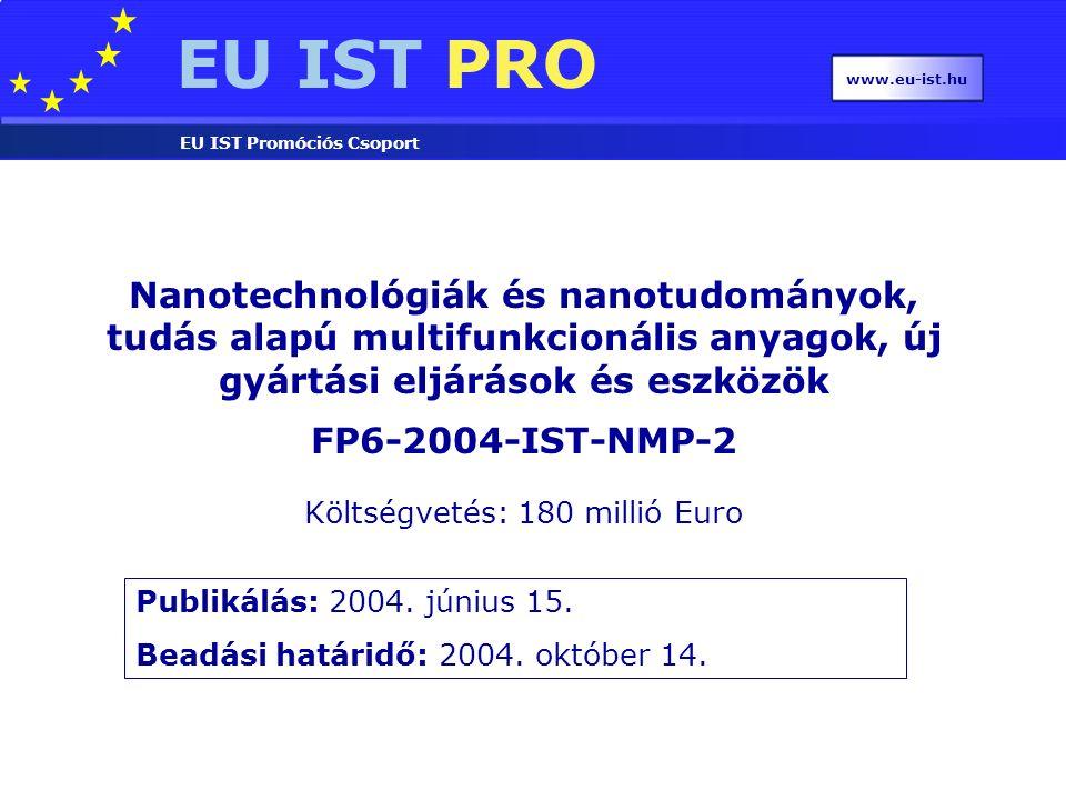EU IST PRO EU IST Promóciós Csoport www.eu-ist.hu Nanotechnológiák és nanotudományok, tudás alapú multifunkcionális anyagok, új gyártási eljárások és eszközök FP6-2004-IST-NMP-2 Publikálás: 2004.
