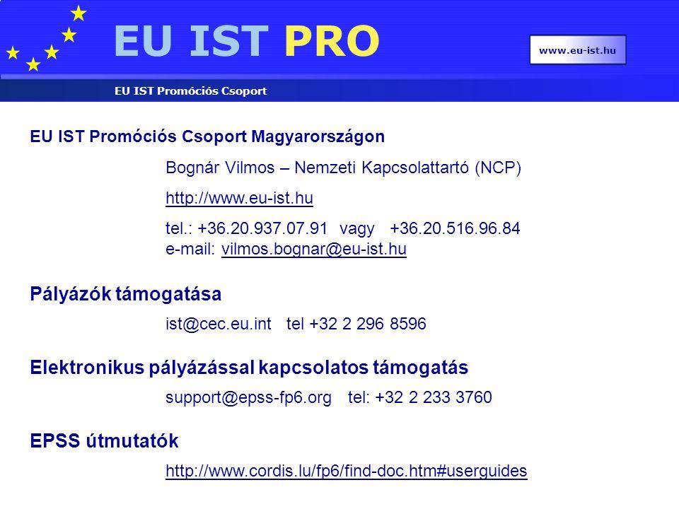 EU IST PRO EU IST Promóciós Csoport www.eu-ist.hu EU IST Promóciós Csoport Magyarországon Bognár Vilmos – Nemzeti Kapcsolattartó (NCP) http://www.eu-ist.hu tel.: +36.20.937.07.91 vagy +36.20.516.96.84 e-mail: vilmos.bognar@eu-ist.huvilmos.bognar@eu-ist.hu Pályázók támogatása ist@cec.eu.int tel +32 2 296 8596 Elektronikus pályázással kapcsolatos támogatás support@epss-fp6.org tel: +32 2 233 3760 EPSS útmutatók http://www.cordis.lu/fp6/find-doc.htm#userguides