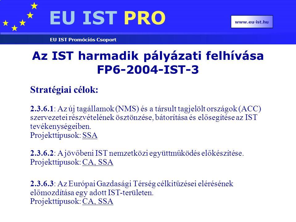 EU IST PRO EU IST Promóciós Csoport www.eu-ist.hu Az IST harmadik pályázati felhívása FP6-2004-IST-3 Stratégiai célok: 2.3.6.1: Az új tagállamok (NMS) és a társult tagjelölt országok (ACC) szervezetei részvételének ösztönzése, bátorítása és elősegítése az IST tevékenységeiben.