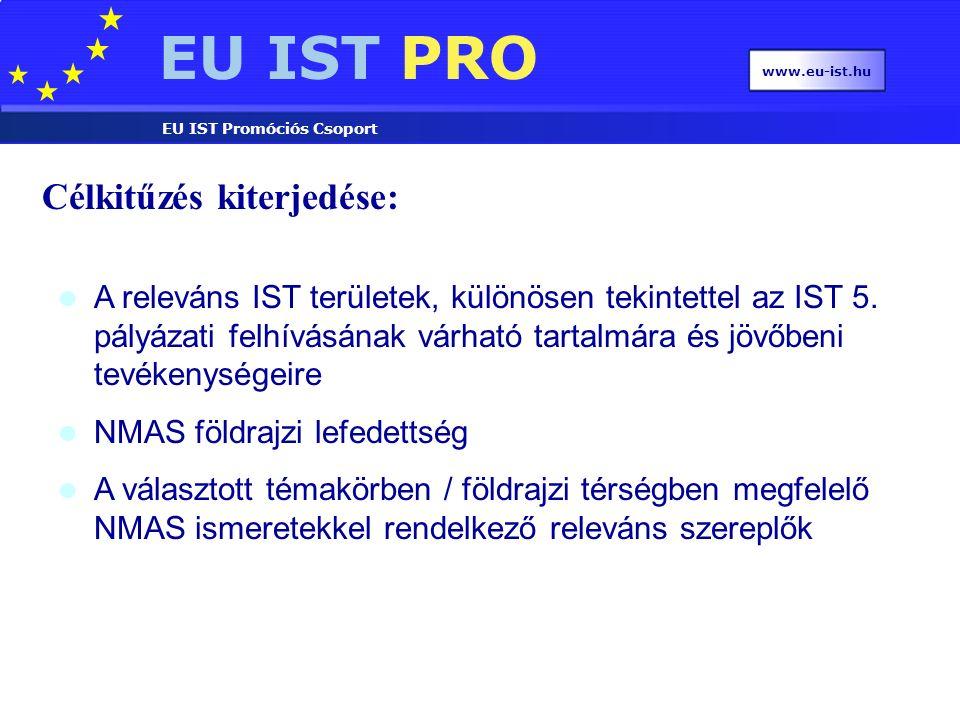 EU IST PRO EU IST Promóciós Csoport www.eu-ist.hu Célkitűzés kiterjedése: A releváns IST területek, különösen tekintettel az IST 5.