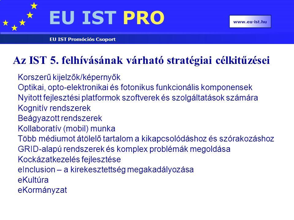 EU IST PRO EU IST Promóciós Csoport www.eu-ist.hu Az IST 5. felhívásának várható stratégiai célkitűzései Korszerű kijelzők/képernyők Optikai, opto-ele