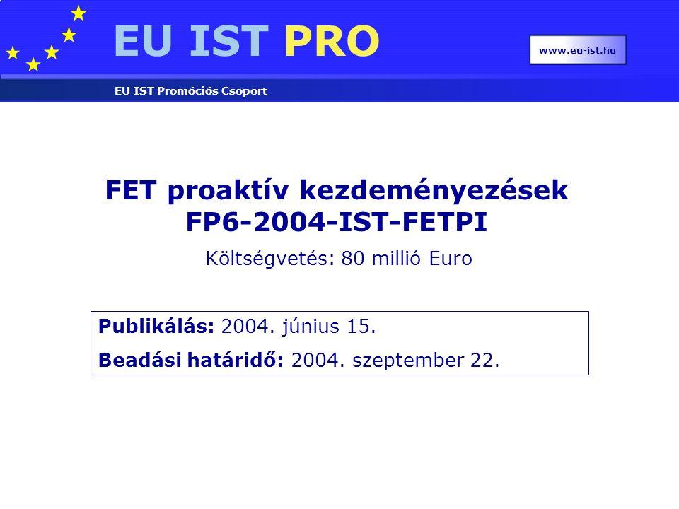 EU IST PRO EU IST Promóciós Csoport www.eu-ist.hu FET proaktív kezdeményezések FP6-2004-IST-FETPI Publikálás: 2004.
